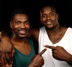 Hakeem Olajuwon and Shaquille O'Neal