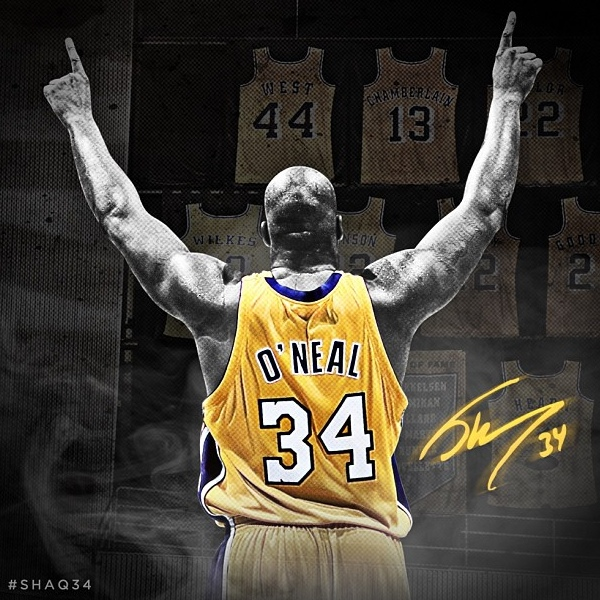 b4c0b8e9a Shaq O Neal gets his number retired by Lakers
