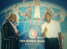 Former NBA centers Darryl Dawkins and Dikembe Mutombo visit Spain