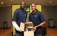 Dikembe Mutombo, PJ Brown gather old mobile phones from fans – PHOTOS
