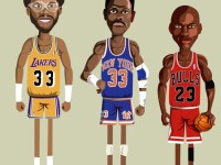 Cool, lively illustrations of legendary NBA players