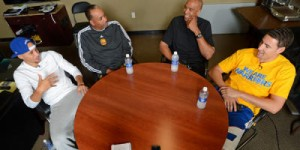 Ex-NBA players Dell Curry, Mychal Thompson sit down with their sons - PHOTOS