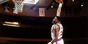 WATCH: Patrick Ewing's powerful dunk... blocked by JR Rider!