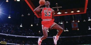 Rare-angle pic of Jordan's freethrow dunk at 1988 Slamdunk Contest