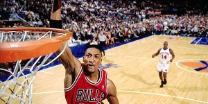WATCH: Pippen gets pass in lane, dunks on top of Ewing